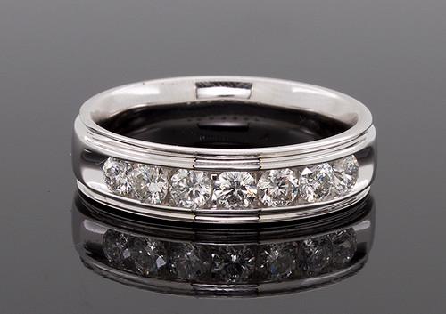 GBC12292 CHANNEL SET MANS DIAMOND WEDDING RING 14KW