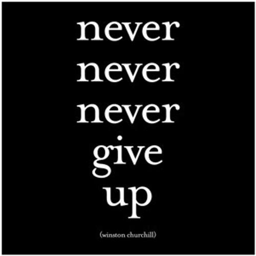 never, never, never give up... - Winston Churchill