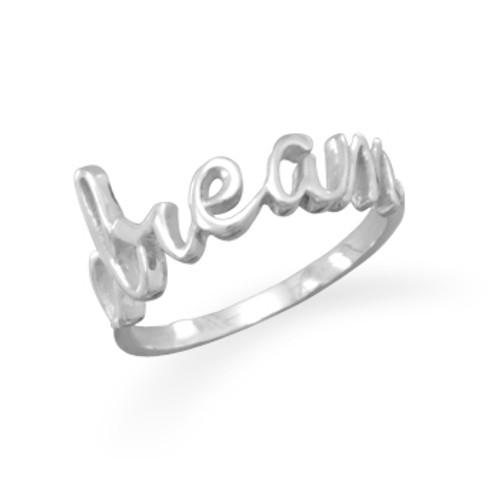 "Polished Script ""dream"" Ring"
