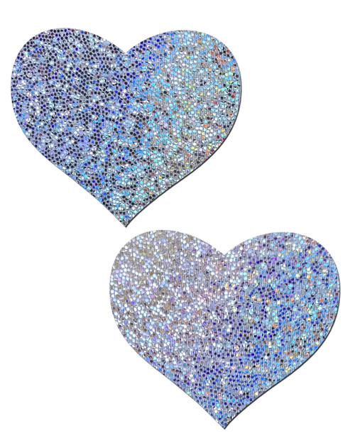 Love: Silver Glitter Heart Nipple Pasties by Pastease® o/s
