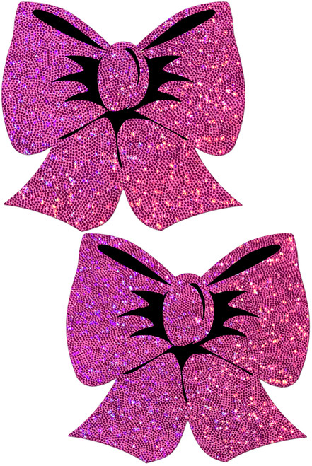 Glittering Hot Pink Bow Nipple Pasties by Pastease® o/s