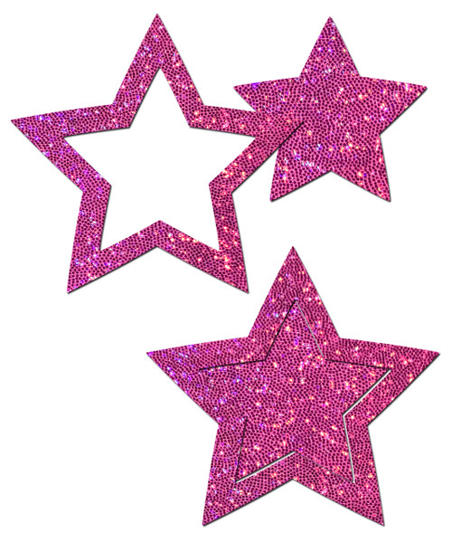 Peek-a-Boob: Hot Pink Glitter Star Frame & Center Nipple Pasties by Pastease® o/s