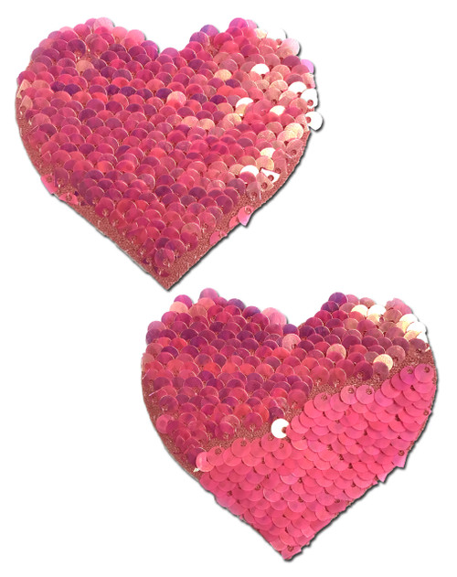 Love: Hot Pink & Matte Pink Color Changing Sequin Heart Nipple Pasties by Pastease® o/s