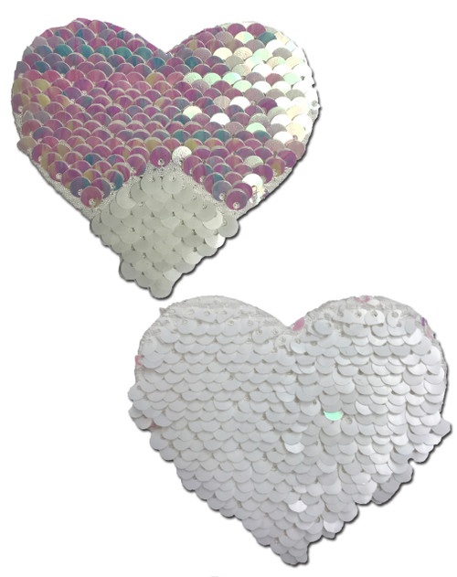 Love: Pearl & White Color Changing Sequin Heart Nipple Pasties by Pastease® o/s
