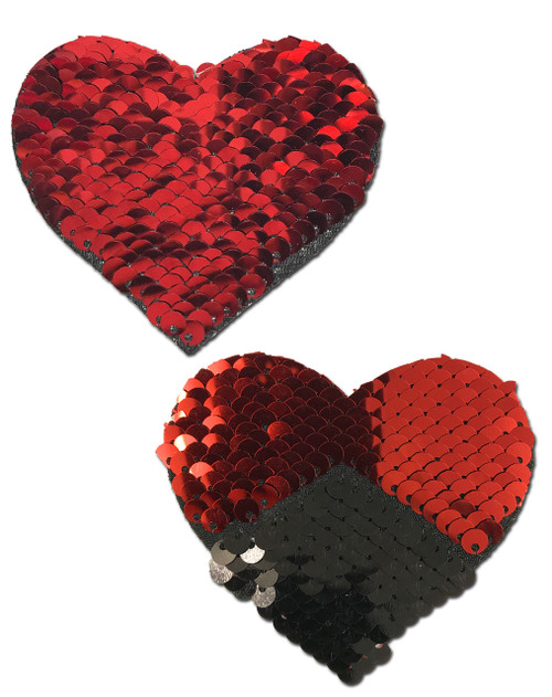 Love: Red & Black Color Changing Sequin Heart Nipple Pasties by Pastease® o/s