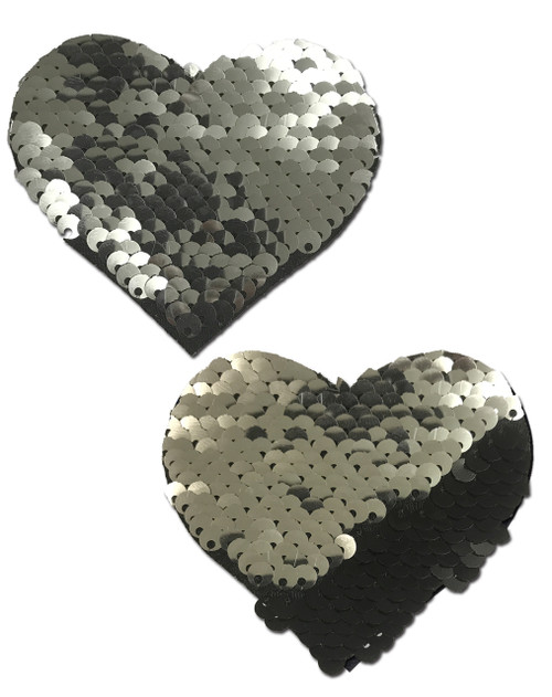 Love: Silver & Black Color Changing Sequin Heart Nipple Pasties by Pastease® o/s