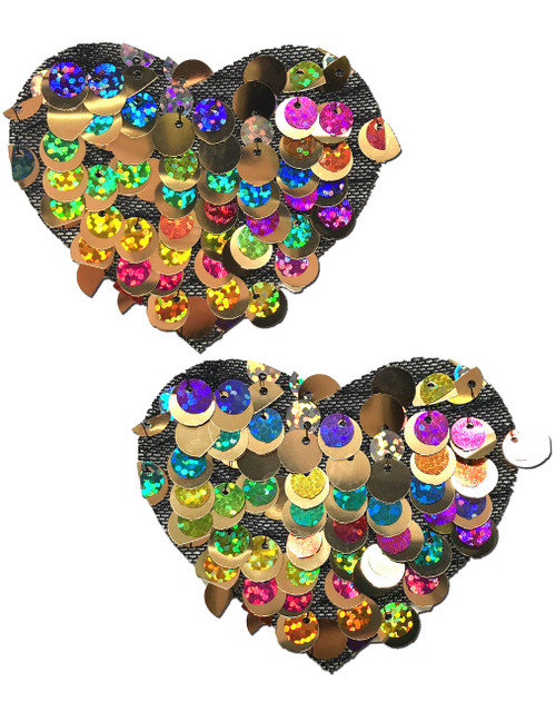 Love: Multi-Color Party Sequin Heart Nipple Pasties by Pastease® o/s