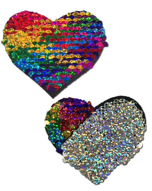 Love: Rainbow & Silver Glitter Color Changing Sequin Heart Nipple Pasties by Pastease® o/s