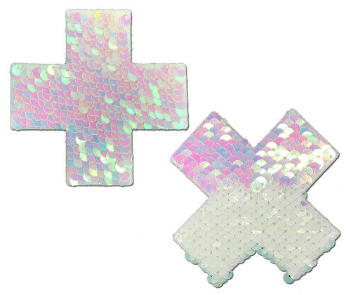 Plus X: Pearl & White Flip Sequin Cross Nipple Pasties by Pastease® o/s