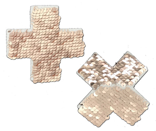 Plus X: Rose Gold Shiny & Matte Flip Sequin Cross Nipple Pasties by Pastease® o/s