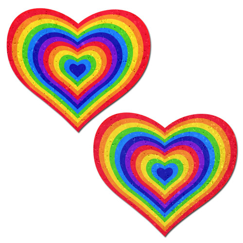 Love: Velvet Rainbow Pumping Heart Nipple Pasties by Pastease® o/s