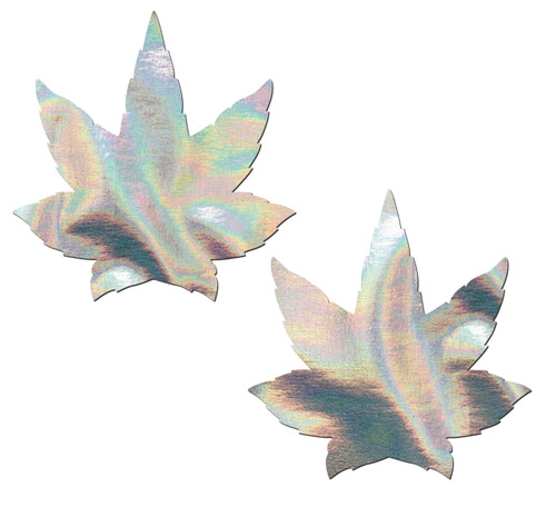 Indica Pot Leaf: Silver Holographic Weed Nipple Pasties by Pastease® o/s