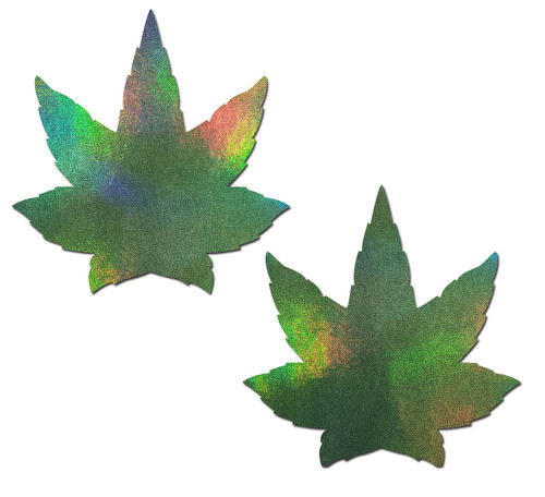 Indica Pot Leaf: Green Holographic Weed Nipple Pasties by Pastease® o/s