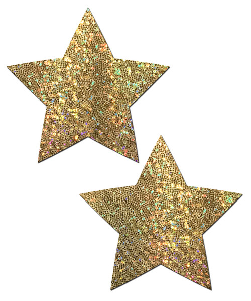 Star: Gold Glitter Star Nipple Pasties by Pastease® o/s