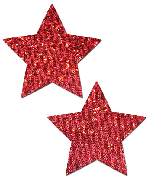 Star: Red Glitter Star Nipple Pasties by Pastease® o/s