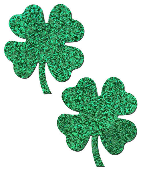 Four Leaf Clover: Glittering Green Shamrocks Nipple Pasties by Pastease® o/s