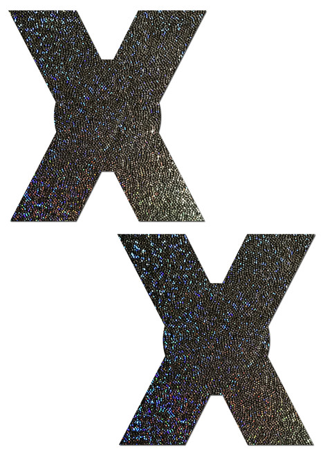 X: Black Glitter X Nipple Pasties by Pastease® o/s