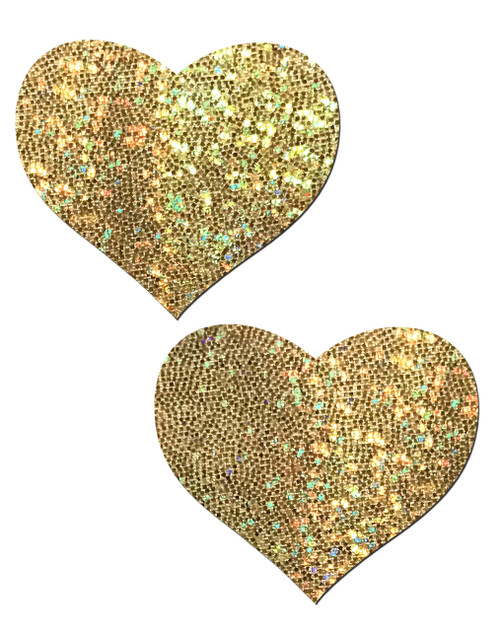 Love: Gold Glitter Heart Nipple Pasties by Pastease® o/s