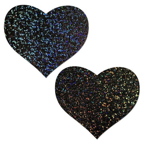 Love: Black Glitter Heart Nipple Pasties by Pastease® o/s