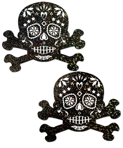 Black Glitter Candy Skull & Crossbones Nipple Pasties by Pastease® o/s