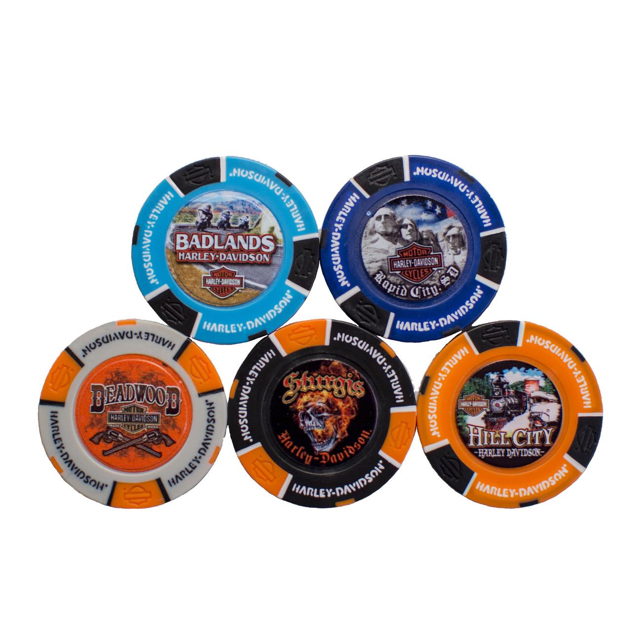 Harley-Davidson® Black Hills Group Full Color Poker Chip 5 Store Set