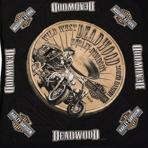 Deadwood Harley-Davidson® Bronze Coin Bandana Black