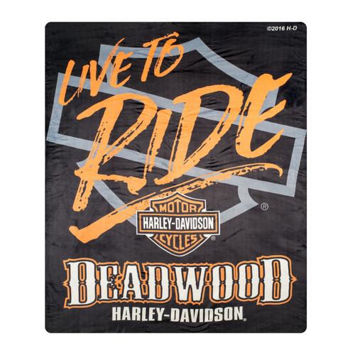 "Deadwood Harley-Davidson® ""Live to Ride"" Silk Touch Throw Blanket"