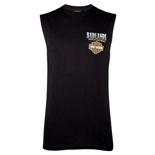 Badlands Harley Davidson® Men's Metal Buffalo Black Sleeveless T-Shirt