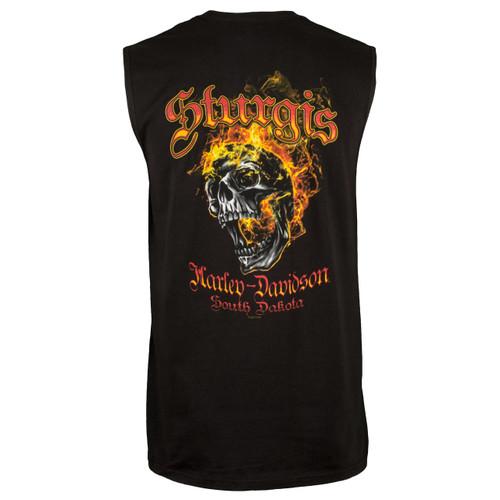 Sturgis Harley-Davidson® Men's Skull Edgy Black Sleeveless T-Shirt