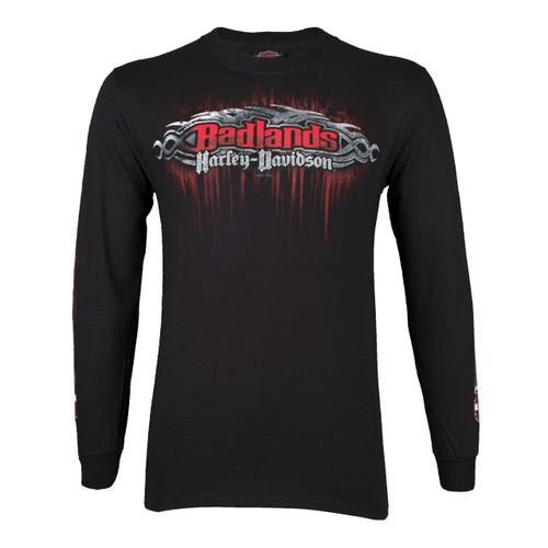 Badlands Harley-Davidson® Men's Edge Black Long Sleeve T-Shirt