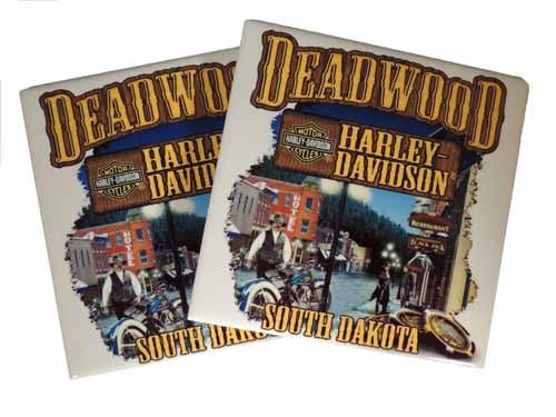 Deadwood Harley-Davidson® Main Street Ceramic Coaster Set