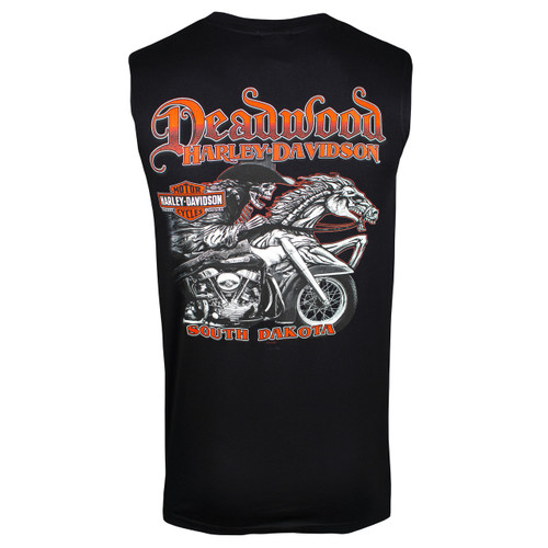 Deadwood Harley-Davidson® Men's Skull Rider Black Sleeveless Shirt
