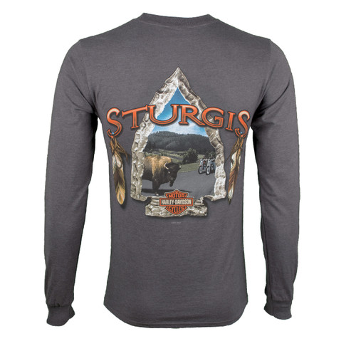 Sturgis Harley-Davidson® Men's Arrowhead Charcoal Long Sleeve Shirt
