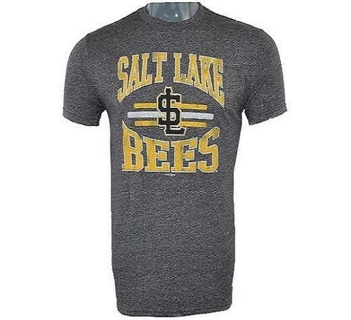 18 Center Stripes Mock Twist Tee  - MensApparelTees - Salt Lake Bees - - Gray - Retro Brand