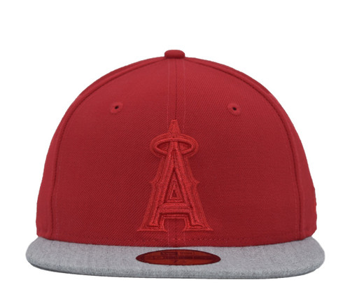 Tonal Red Heather Visor 5950  - HeadwearFittedMens - Los Angeles Angels - - Red - New Era