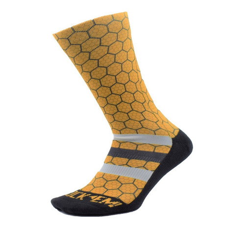 Yth Honeycomb Fashion Sock  - KidsApparelFootwearFashion - Salt Lake Bees - - Yellow - Rock 'Em