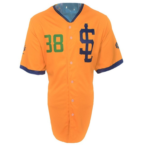 Jazz Bees Authentic Jersey - NoveltyCollectiblesMemorabilia - Salt Lake Bees - 38 - Gold -