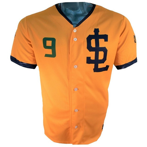 Jazz Bees Authentic Jersey - NoveltyCollectiblesMemorabilia - Salt Lake Bees - 9 - Gold -