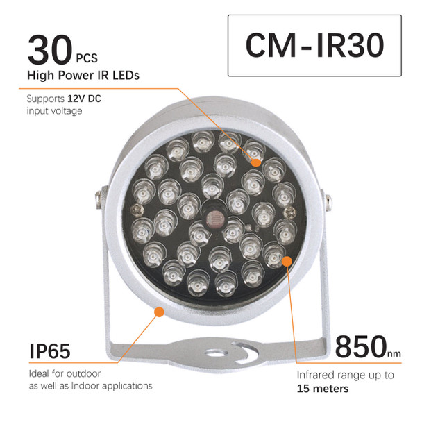 CMVision CM-IR30  60-90degree view without Power Supply  IR Illuminator