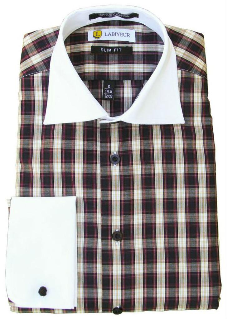 Labiyeur Slim Fit Multicolor Long Sleeve Cotton Blend French Cuffs Dress Shirt