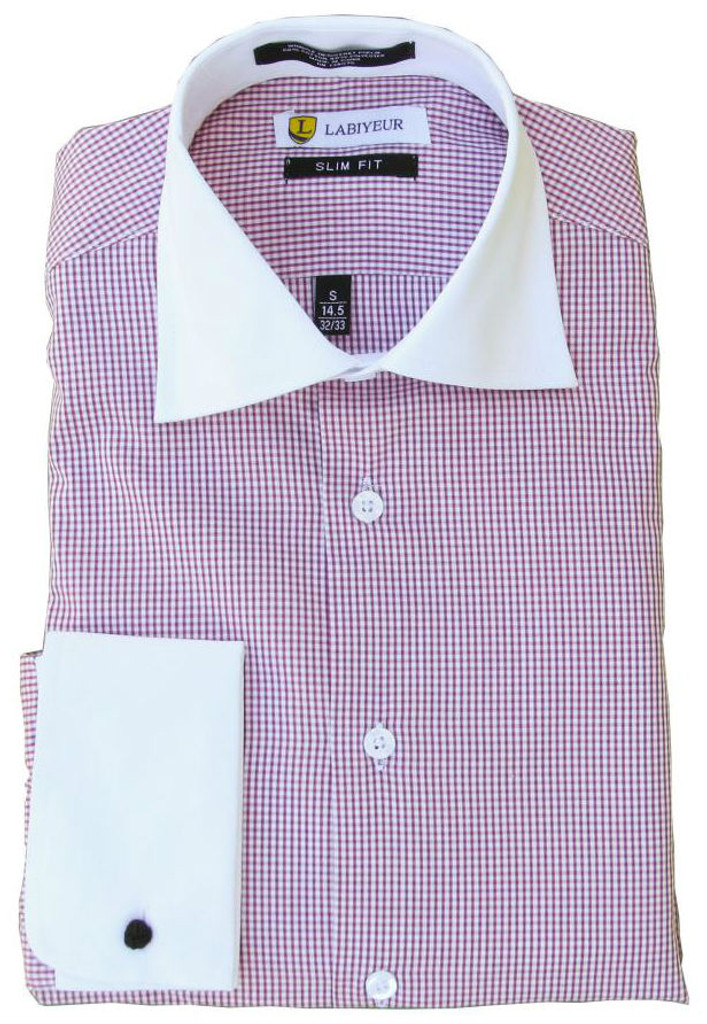 Labiyeur Slim Fit Multicolor Square Checked Cotton Blend French Cuffs Dress Shirt