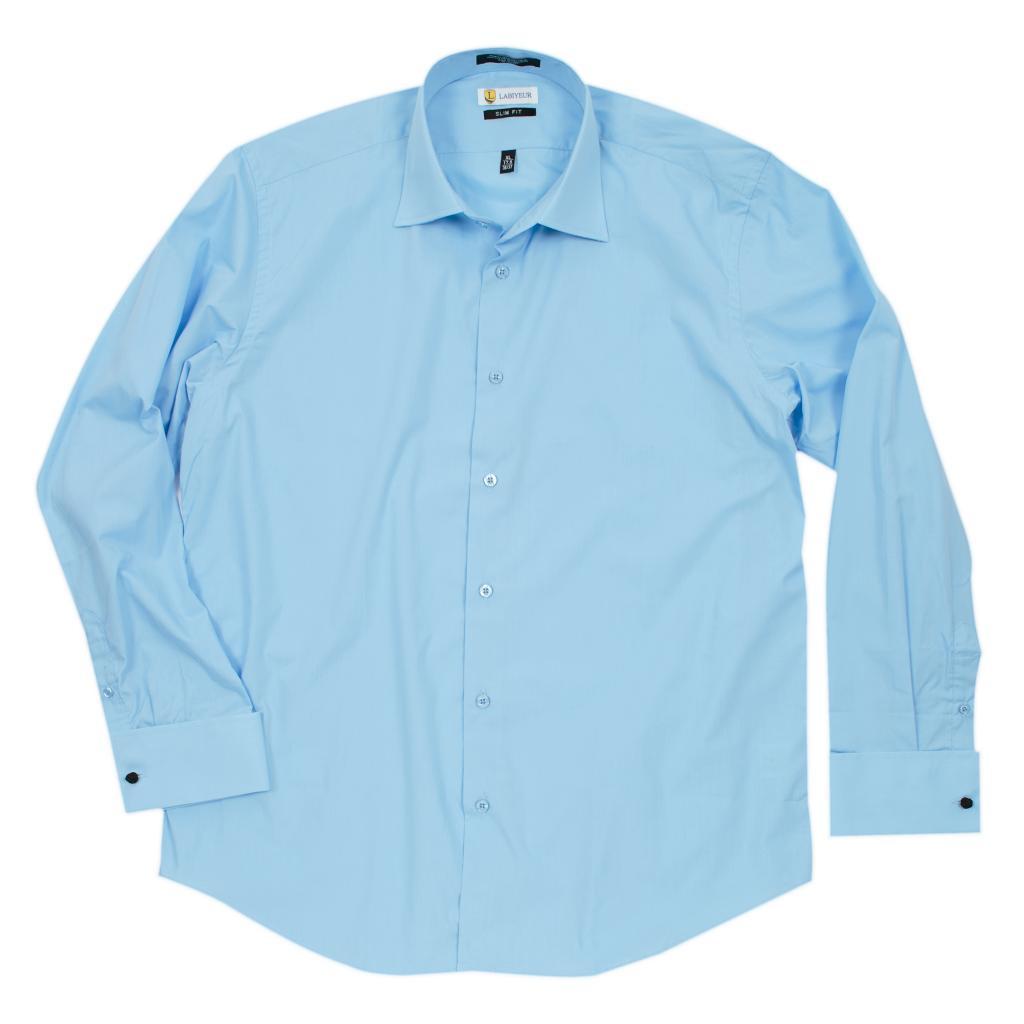 Labiyeur Slim Fit Sky Blue Cotton Blend French Cuffs Dress Shirt
