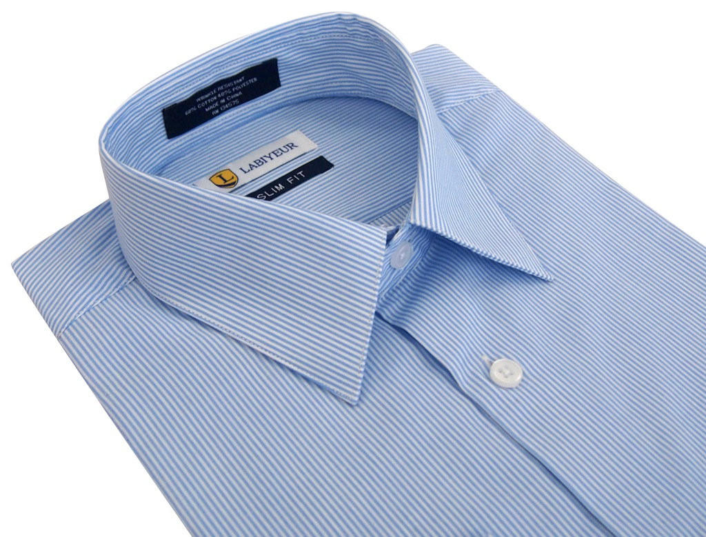 Labiyeur Slim Fit Blue White Fine Stripes Button Cuff Dress Shirt