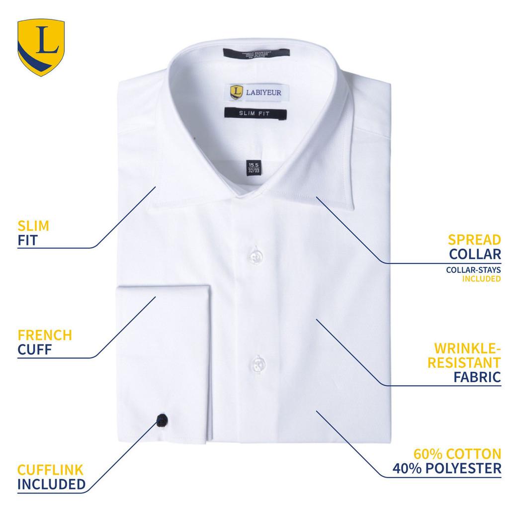 Labiyeur Men's Classic Fit French Cuff Poplin Cotton Blend Solid White Dress Shirt