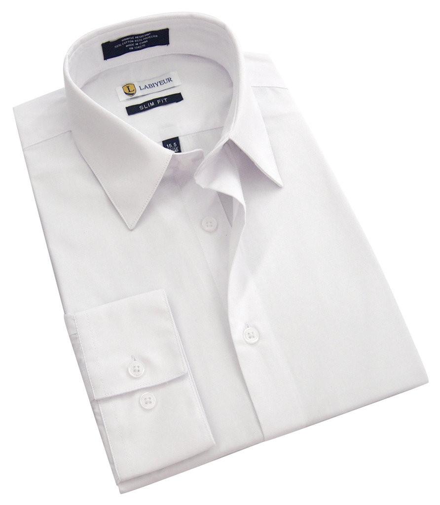 Labiyeur Slim Fit White Button Cuff Men's Dress Shirt