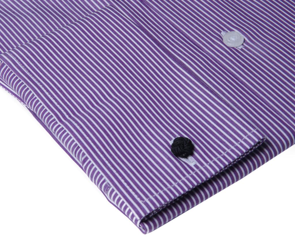 Labiyeur Men's Slim Fit French Cuff Striped Dress Shirt Purple/White