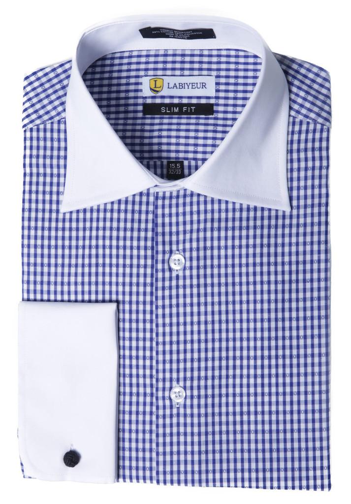 Labiyeur Men's Slim Fit French Cuff Checkered Dress Shirt Gingham Blue/white