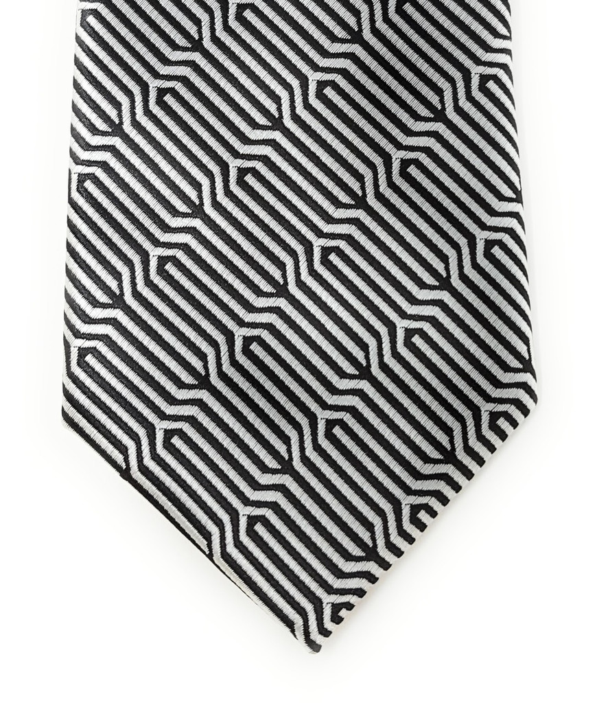 Labiyeur Geometric Ys Medium Men's Tie Necktie (Black/White-Silver Effect)