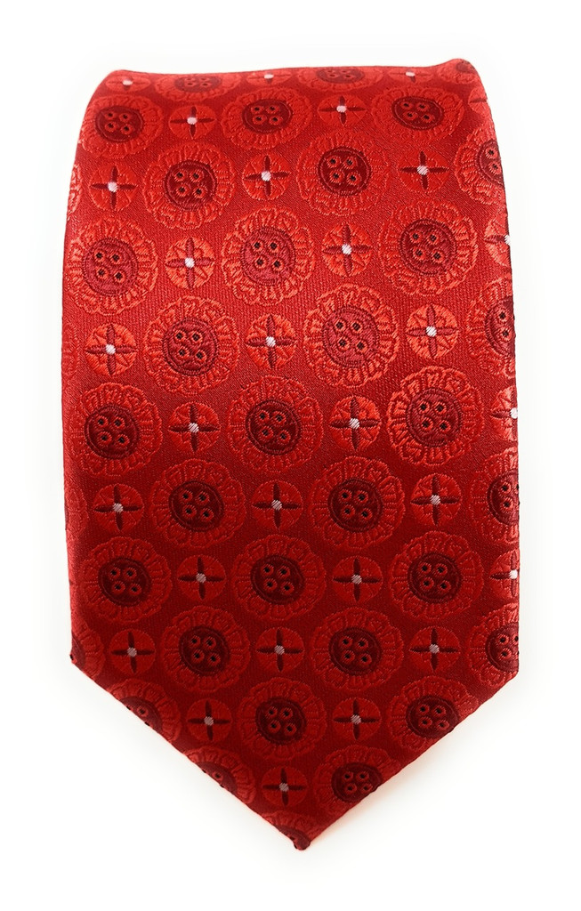 Labiyeur Men's Necktie: Fully Lined Woven Jacquard Slim Neck Tie Red Button Patterns