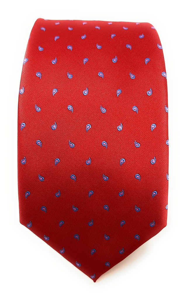Labiyeur Men's Necktie: Fully Lined Woven Jacquard Slim Neck Tie Red Small Paisley Pattern